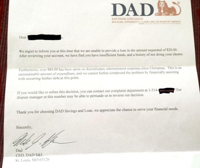 Boy Asks For Advance on His Allowance. Father Responds in Writing.